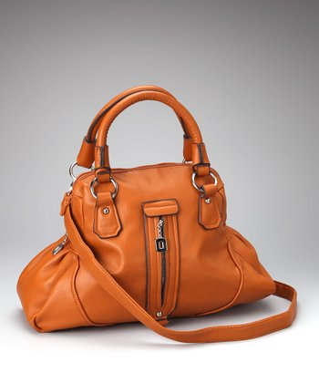 Brown Zipper Satchel