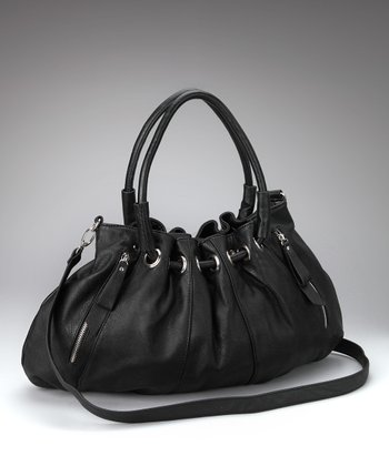 Black Gathered Satchel