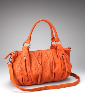 Orange Perforated Satchel