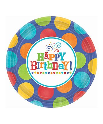 "Birthday Fever Plates 7"" set of 8"