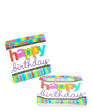 "Square Plates - 10"" - Birthday Dots & Stripes (1 PKG / 8)"