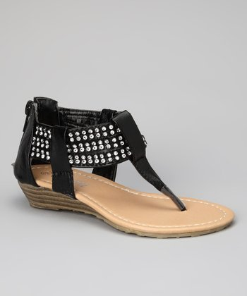 Black Studded QQ-20 Sandal
