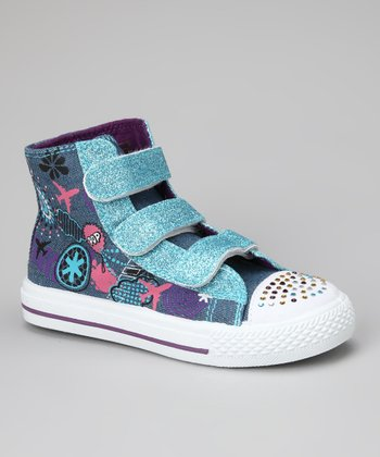 Blue Graphic Hi-Top Sneaker