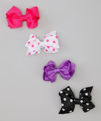 Pink & Purple Polka Dot Bow Clip Set