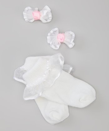 White Socks & Bow Set