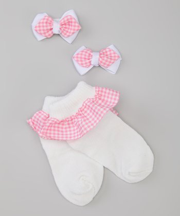 Pink & White Gingham Socks & Bow Set