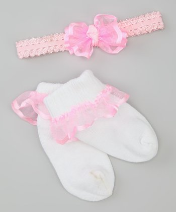 Pink & White Socks & Headband