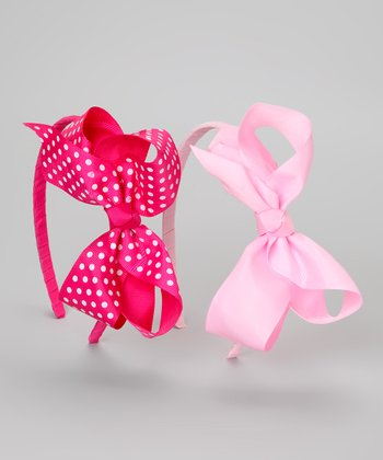 Pink & Hot Pink Polka Dot Bow Headband Set