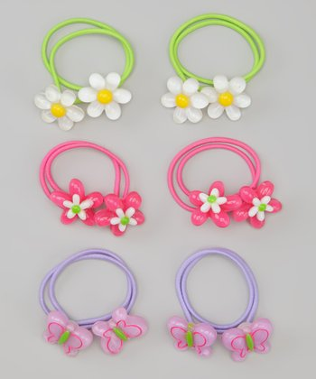 Pink & Purple Daisy Hair Tie Set