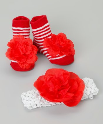 Red & White Stripe Booties & Headband