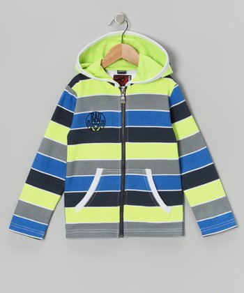 Fluorescent Yellow Stripe Zip-Up Hoodie - Toddler & Boys