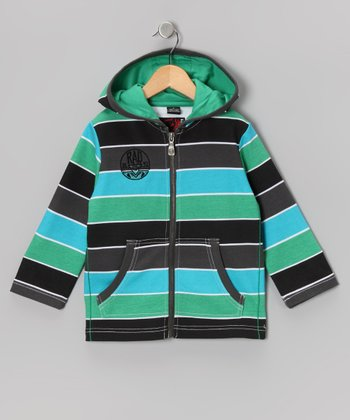 Kelly Green Stripe Zip-Up Hoodie - Toddler & Boys