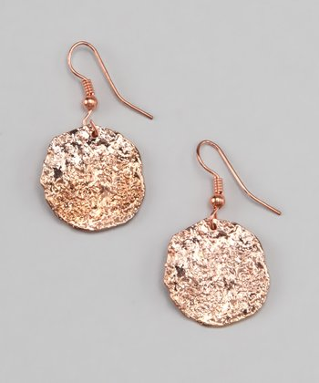 Rose Gold Hammered Earrings