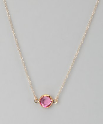 Gold & Dark Pink Crystal Necklace