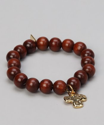 Wood & Gold Cross Stretch Bracelet