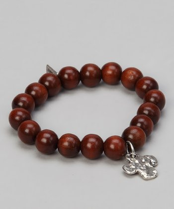 Wood & Sterling Silver Cross Stretch Bracelet