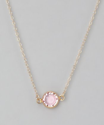 Gold & Light Pink Crystal Necklace