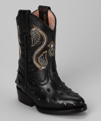 Black Avestruz Boot