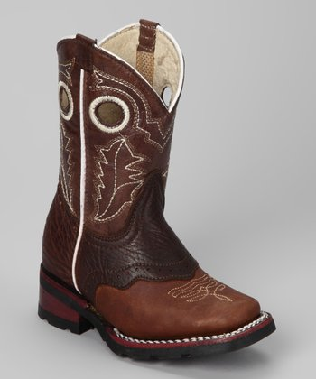 Brown & White Leather Cowboy Boot - Kids