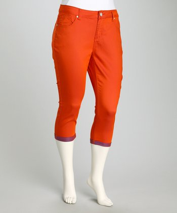 Guava Orange & Bright Cobalt Perfect Plus-Size Capri Pants