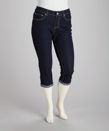 Dark Wash Plus-Size Capri Jeans