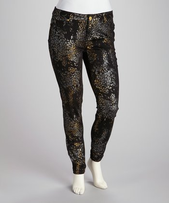 Black Metallic Skinny Jeans - Plus