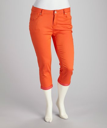 Orange Plus-Size Capri Pants