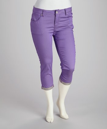 Purple Plus-Size Capri Pants