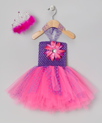 Hot Pink & Purple Tutu Dress & Tiara - Infant