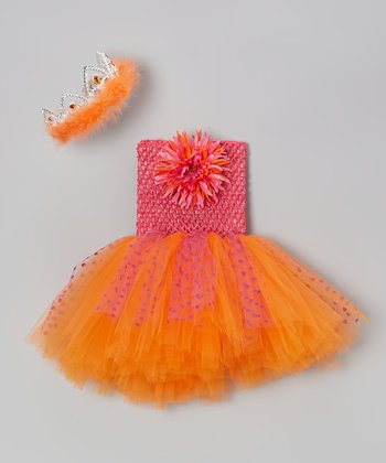 Hot Pink & Orange Tutu Dress & Tiara - Infant, Toddler & Girls