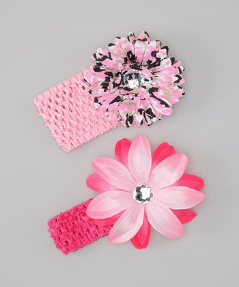 Pink Camo Flower Headband Set