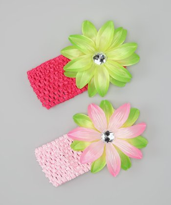 Pink & Lime Lily Headband Set
