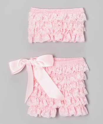 Pink Lace Ruffle Tube Top & Shorts - Infant