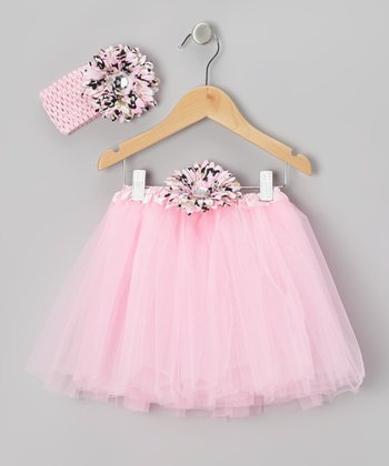 Light Pink & Camouflage Tutu & Headband