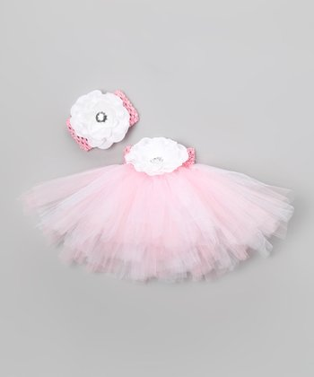 Light Pink Shimmer Floral Tutu Set - Infant, Toddler & Girls