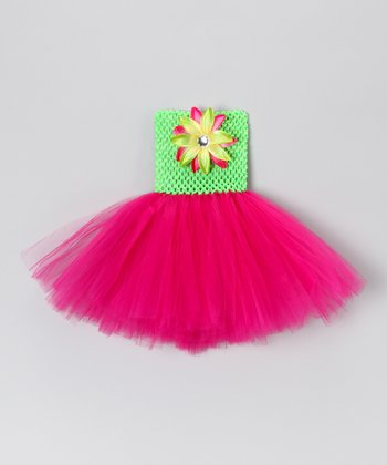 Lime & Hot Pink Dress - Infant, Toddler & Girls
