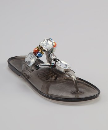 Sweet Girl Black Crystal Sandal