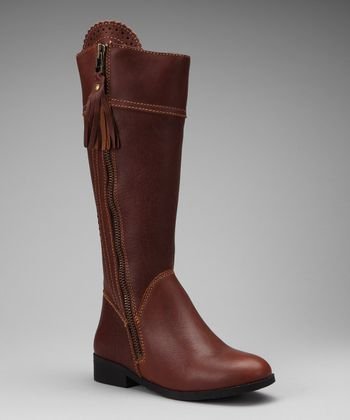 Brown Tempt Equestrian Leather Boot - Women
