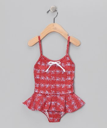 Red Ribbon Skirted One-Piece - Infant