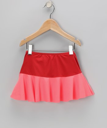 Red & Salmon Swim Skirt - Girls