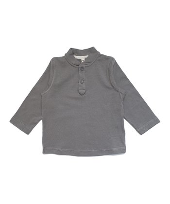 Dark Gray Organic Henley - Infant, Toddler & Kids
