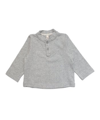 Gray Mélange Organic Henley - Infant, Toddler & Kids