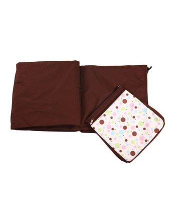 Brown Polka Dot Park Foldable Play Mat Bag