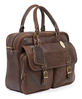 Distressed Brown Leather Traveler's Briefcase