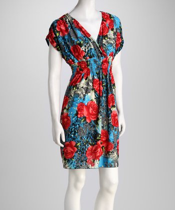 Blue Rose Surplice Dress