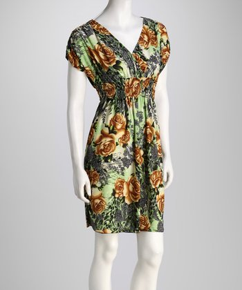 Green Rose Surplice Dress