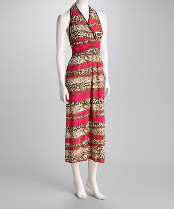 Pink Jungle Cat & Chain Halter Maxi Dress