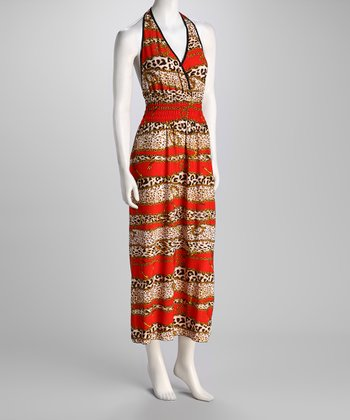 Red Jungle Cat & Chain Halter Maxi Dress