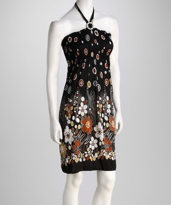 Brown Floral Halter Dress
