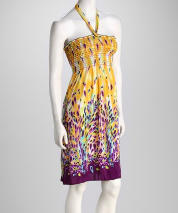 Yellow Abstract Petal Halter Dress